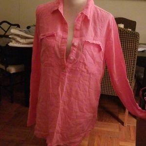 Neon pink linen shirt